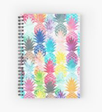 Hawaiian Pineapple Pattern Tropical Watercolor Spiral Notebook