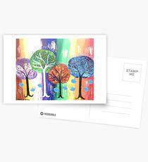The Colourful Spiritual Love Trees Postcards