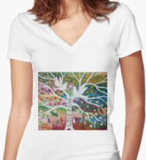 Two white Doves on a Tree of Love Women's Fitted V-Neck T-Shirt