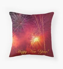 Happy New Year Fireworks 3 Throw Pillow
