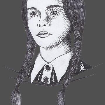 Wednesday Addams - Pen Sketch by DILLIGAFM8