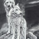 Moon Shadows - wolf cubs -pencil drawing by Peter Williams