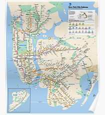 #NY #subway #map famousplace BrooklynBridge CityHall ChambersStreet #NewYorkCity USA map cartography topography travel country guidance graph colorimage newyorkstate NYSubwayMap Poster