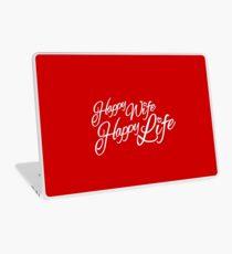 Happy wife happy life typographic Laptop Skin
