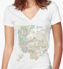 #NY #subway #map #famousplace #BrooklynBridge #CityHall #ChambersStreet #NewYorkCity #USA #map #cartography #topography #travel #country #guidance #vector #graph#colorimage #newyorkstate #NYSubwayMap Women's Fitted V-Neck T-Shirt