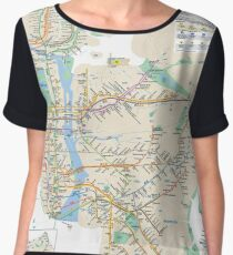 #NY #subway #map #famousplace #BrooklynBridge #CityHall #ChambersStreet #NewYorkCity #USA #map #cartography #topography #travel #country #guidance #vector #graph#colorimage #newyorkstate #NYSubwayMap Chiffon Top