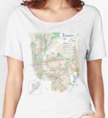 #NY #subway #map #famousplace #BrooklynBridge #CityHall #ChambersStreet #NewYorkCity #USA #map #cartography #topography #travel #country #guidance #vector #graph#colorimage #newyorkstate #NYSubwayMap Women's Relaxed Fit T-Shirt