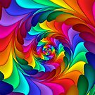 Rainbow Fractal Spiral  by Kitty Bitty
