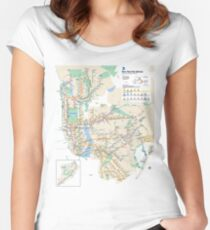 #NY #subway #map #famousplace #BrooklynBridge #CityHall #ChambersStreet #NewYorkCity #USA #map #cartography #topography #travel #country #guidance #vector #graph#colorimage #newyorkstate #NYSubwayMap Women's Fitted Scoop T-Shirt