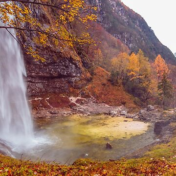 Waterfall in an autumn day in the italian alps by zakaz86