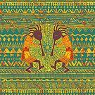 Native American Kokopelli - Ethno Border Pattern 4 by EDDArt