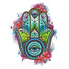 Neo Traditional Hamsa Hand by lornalaine