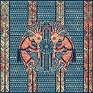 Native American Kokopelli - Ethno Border Pattern 7 by EDDArt