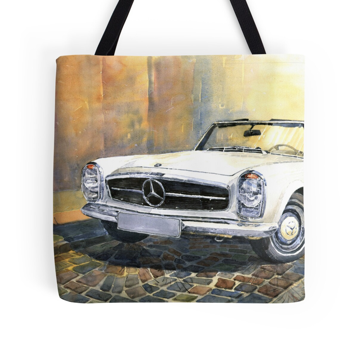 Mercedes benz w113 280 sl pagoda front tote bags by for Mercedes benz handbags