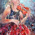 Music-Girl with Violin(Red Skirt) MM 3965x2550 by Ballet Dance-Artist