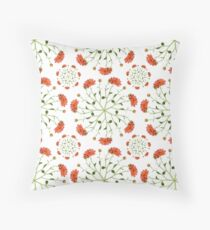Coral Mum Floral Pattern - Realistic Flowers - Chrysanthemum Bloom Pattern Throw Pillow