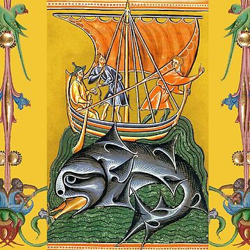 WHALE HUNTERS ON VIKING WHALING VESSEL Medieval Miniature by BulganLumini