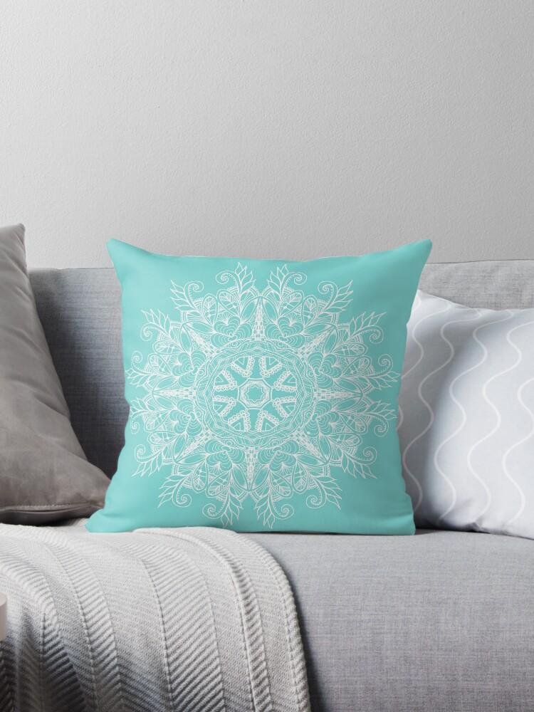 Turquoise Mandala Throw Pillow by sheseddit