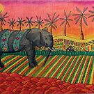 441 - ELEPHANT SUNSET - MIXED MEDIA - DAVE EDWARDS - 2018 by BLYTHART