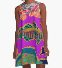 Colorful Abstract Fish Art  A-Line Dress