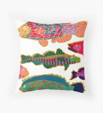 Colorful Abstract Fish Art  Throw Pillow