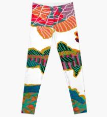 Colorful Abstract Fish Art  Leggings