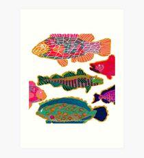 Colorful Abstract Fish Art  Art Print
