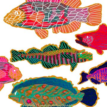 Colorful Abstract Fish Art  by ntartworks