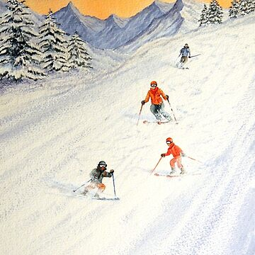 Skiing Family On The Slopes by billholkham