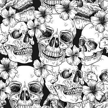 Skulls on flowers by hypnotzd