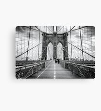 Brooklyn Bridge, New York City (rustic black & white) Canvas Print