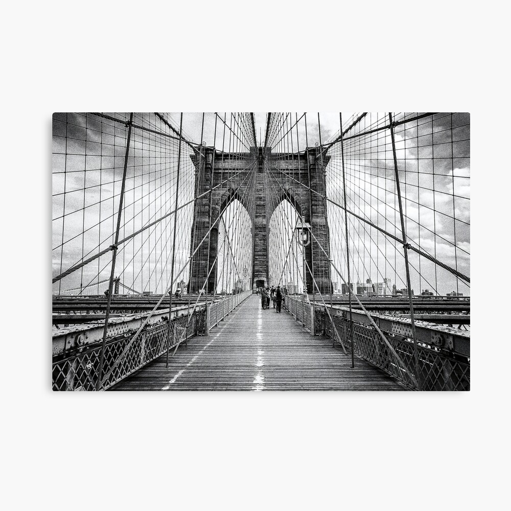 Brooklyn Bridge, New York City (rustic black & white) Canvas Print