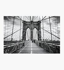 Brooklyn Bridge, New York City (rustic black & white) Photographic Print