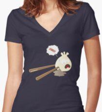 Dumpling hurt by chopsticks Women's Fitted V-Neck T-Shirt