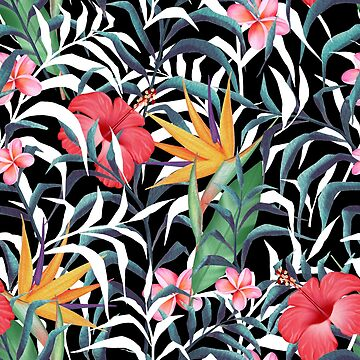 Tropical plants. Flowers and leaves by Gribanessa