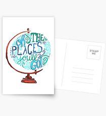 Oh die Orte, an die Sie gehen - Vintage Typography Globe Postkarten