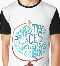 Oh The Places You'll Go - Vintage Typography Globe Graphic T-Shirt