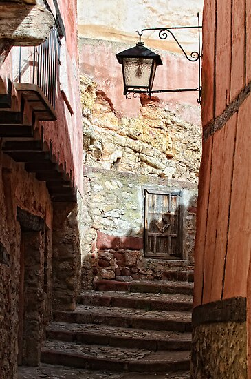 Stepped street, Albarracin, Aragon, Spain by Andrew Jones