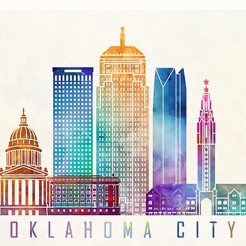 Oklahoma city landmarks watercolor poster by paulrommer