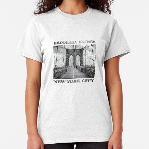 Brooklyn Bridge, New York City (rustic black & white) Classic T-Shirt