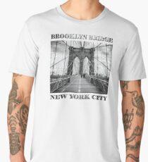 Brooklyn Bridge, New York City (rustic black & white) Men's Premium T-Shirt