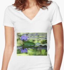 Purple Water Lily Women's Fitted V-Neck T-Shirt