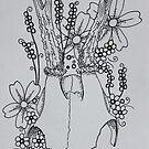 Deer Skull Line Drawing by Sammi by ABWDArtStudio