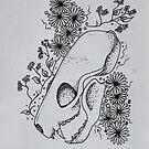 Mink Skull Line Drawing by Sammi by ABWDArtStudio