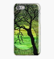 Cross Hatched Tree Green Watercolors iPhone Case/Skin