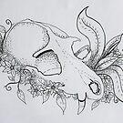 Fox Skull Line Drawing by Sammi by ABWDArtStudio