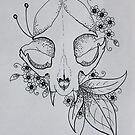 Cat Skull Line Drawing by Sammi by ABWDArtStudio