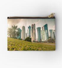 Doha skyline and sunset Zipper Pouch