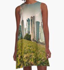 Doha skyline and sunset A-Line Dress