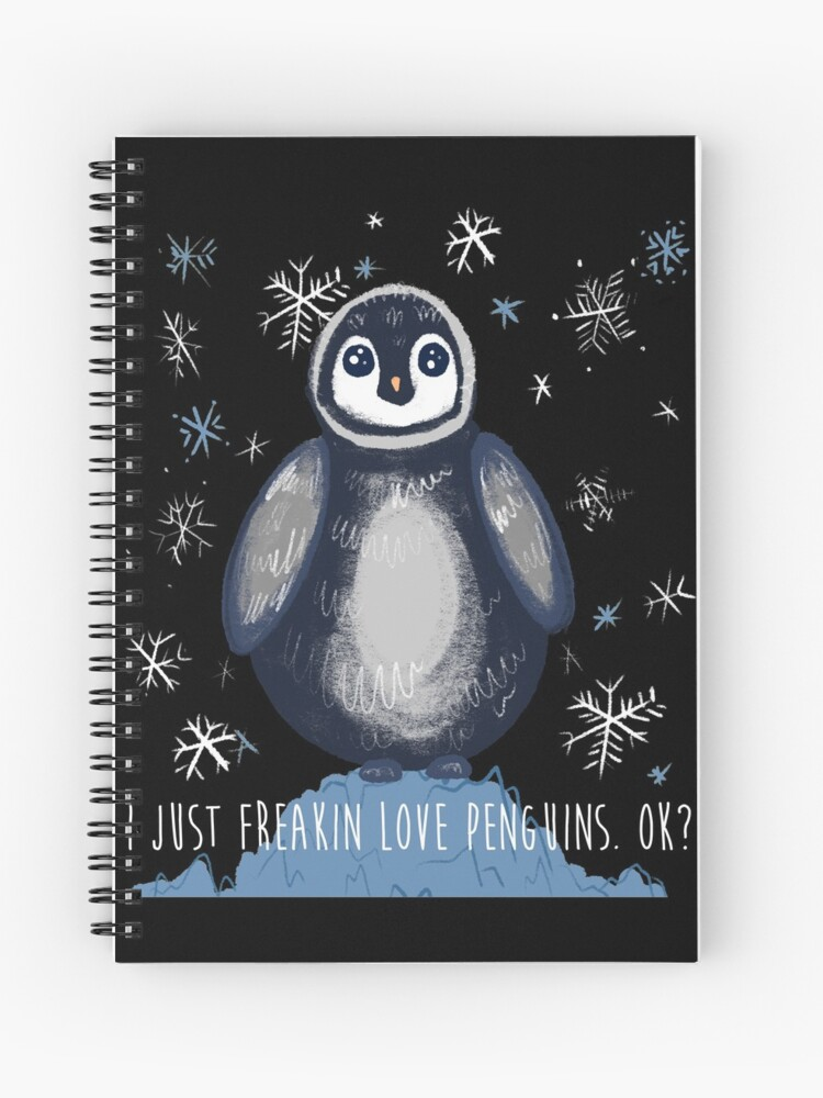 Adorable Cute Baby Penguin I Just Love Penguins Spiral Notebook